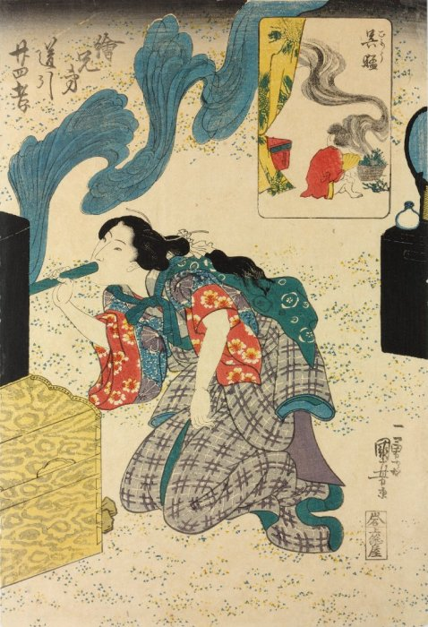 Kuniyoshi - 'Brother Pictures' for the 24 Paragons of Filial Pietiy (E-kyôdai uchibiki ni-jû-shi kô), Gomô (Wu Mêng in Chinese) is carrying a smoking pot to keep mosquitoes away from his sleeping father