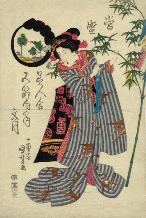 Kuniyoshi - Comparison of Modern Beauties for the Five Festivals (Tôsei bijin awase gosekku no uchi), Tanabata Festival, pub