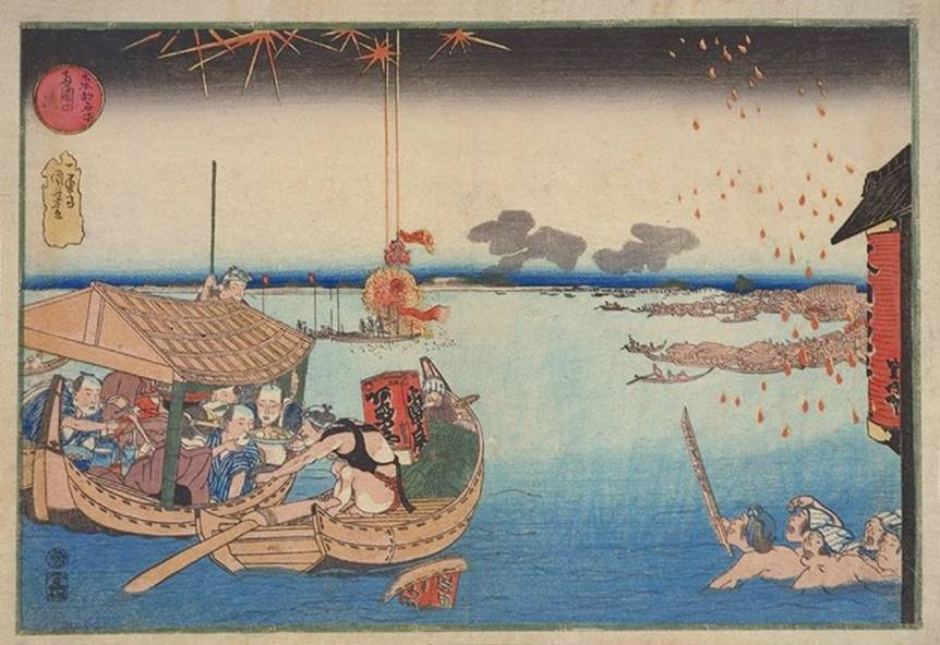 Kuniyoshi - Famous Views of the Eastern Capital (Tôto meisho), Enjoying the Cool at Ryôgoku, 1833