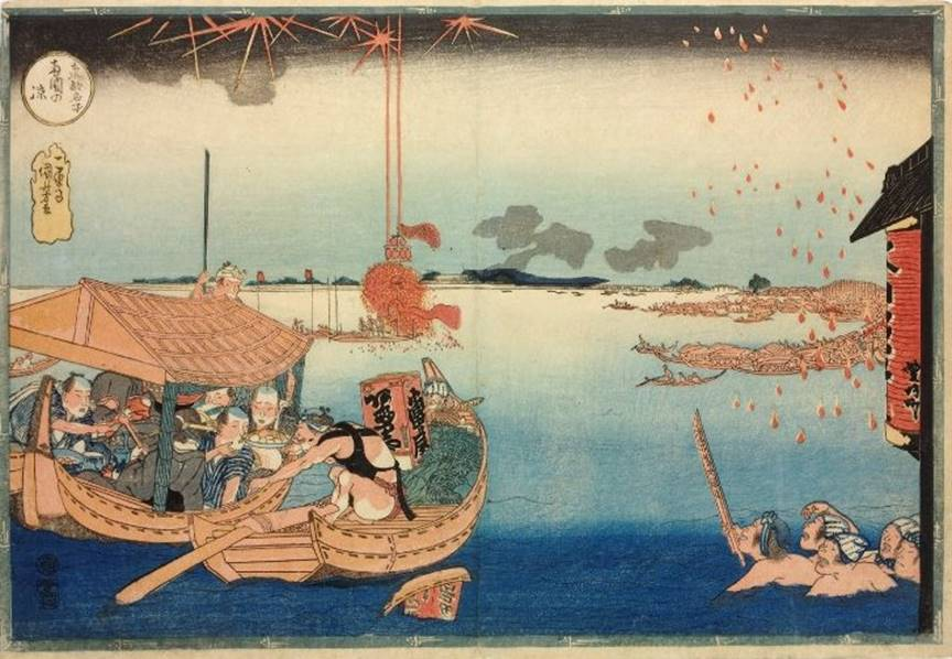 Kuniyoshi - Famous Views of the Eastern Capital (Tôto meisho), Enjoying the Cool at Ryôgoku, ALT,1833