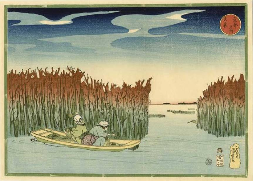 Kuniyoshi - Celebrated Views of the Eastern Capital (Tôto meisho), Travellers at Kasumigaseki