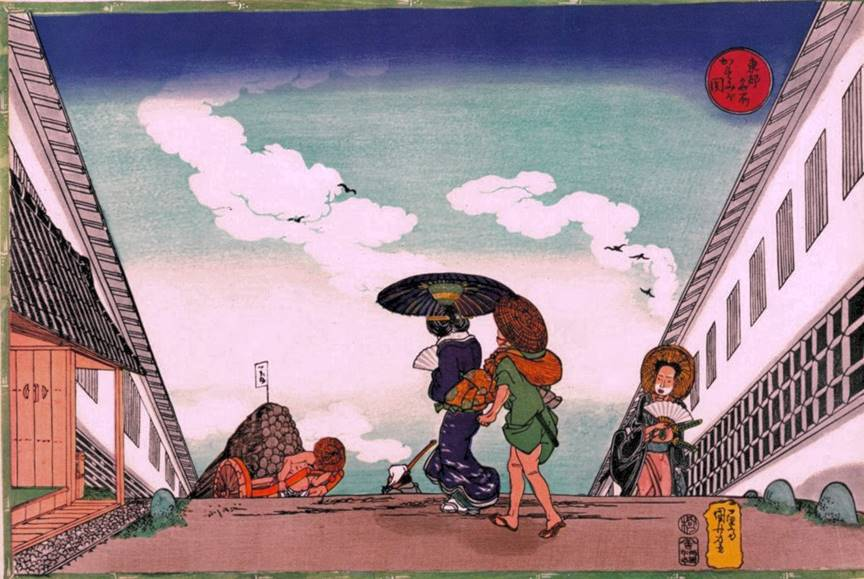 Kuniyoshi - Famous Views of the Eastern Capital (Tôto meisho), Ferry under Etai Bridge with Island of Tsukuda in background, subtitle-Tsukudajima