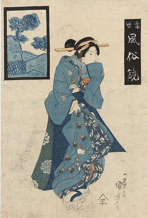 Kuniyoshi - Snow, Moon & Flowers, Snow (yuki), Woman standing on a balcony overlooking a snowy garden, c