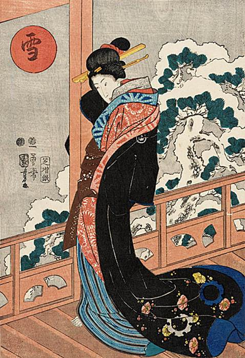 Kuniyoshi -   3 Selected Beauties for Pine, Bamboo, and Plum (Sambijin mitate shochikubai, R131), Pine (Matsu), c