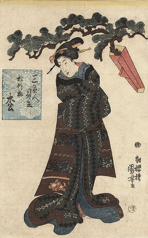 Kuniyoshi -   3 Selected Beauties for Pine, Bamboo, and Plum (Sambijin mitate shochikubai, R131), Pine (Matsu), (Alt)