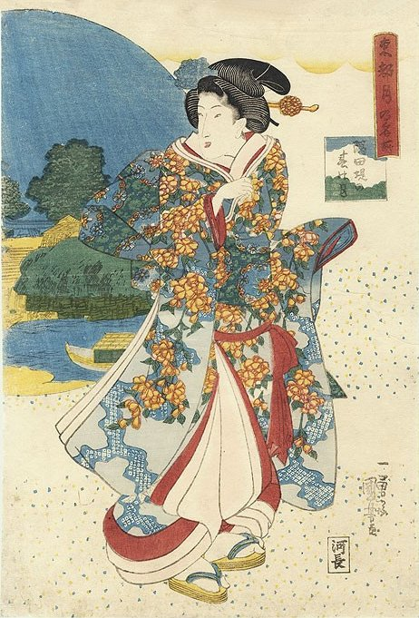 Kuniyoshi - Moonlight views of the Eastern Capitol, courtesan on parade in her Spring finery with view of the Sumidagawa behind her