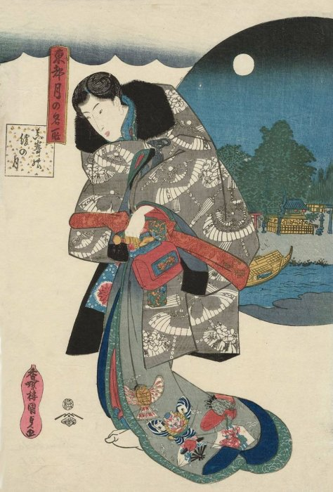 Kuniyoshi - Moonlight Views of the Eastern Capitol KUNISADA The Almost-full Moon at Masaki (Masaki no nochi no tsuki), from the series Famous Places for Moon-viewing in the Eastern Capital (Tôto tsuki no meisho)