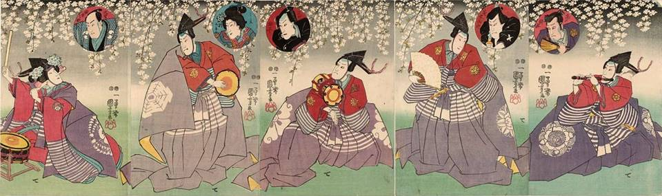 Kuniyoshi - (triptych cc) 5 actors as musicians, top insets show actors from the play Chushingura