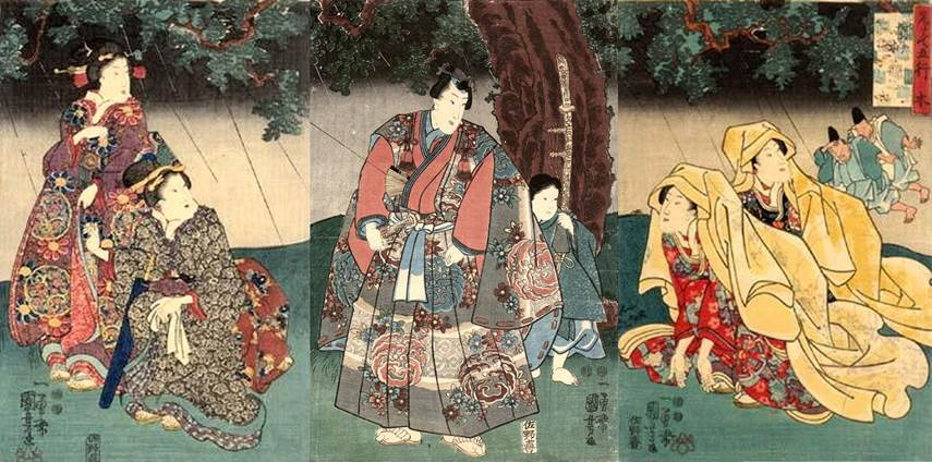 Kuniyoshi - Select Five Elements (Mitate go gyô),wood, Prince Genji entertains two bijin disguised as Nuns in the rain
