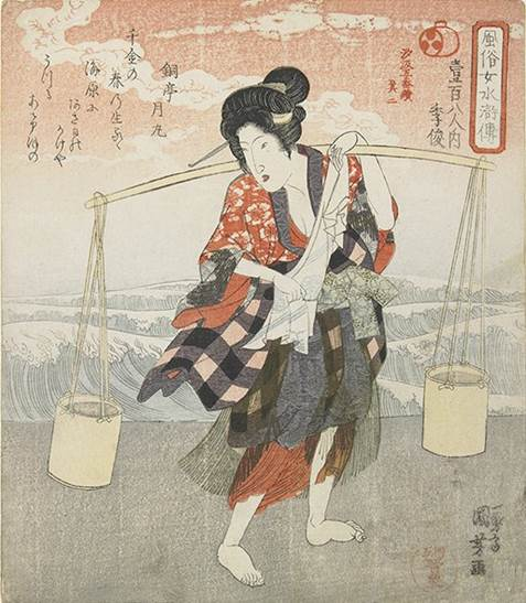 Kuniyoshi - (shikishiban) Modern Women as the 108 Heroes of the Suikoden (Fûzoku onna Suikoden hyakuhachiban no uchi), Wang Dingliu (Ô Teiroku), Woman in a boat on the sumida river, c