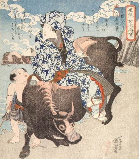 Kuniyoshi - (shikishiban) Modern Women as the 108 Heroes of the Suikoden (Fûzoku onna Suikoden hyakuhachiban no uchi), Beauty seeing the image of a dragon in the water in a basin (O-tearai), printer Suri-kô Shinzô (Alt