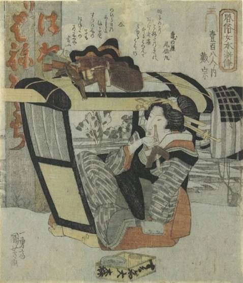 Kuniyoshi - (shikishiban) Modern Women as the 108 Heroes of the Suikoden (Fûzoku onna Suikoden hyakuhachiban no uchi), Brazier (Kotatsu), [beauty with cat]