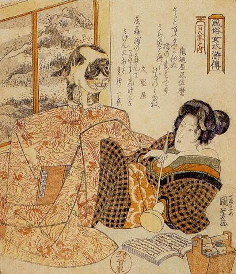 Kuniyoshi - (shikishiban) Modern Women as the 108 Heroes of the Suikoden (Fûzoku onna Suikoden hyakuhachiban no uchi), Brazier (Kotatsu), [beauty with cat] later printing