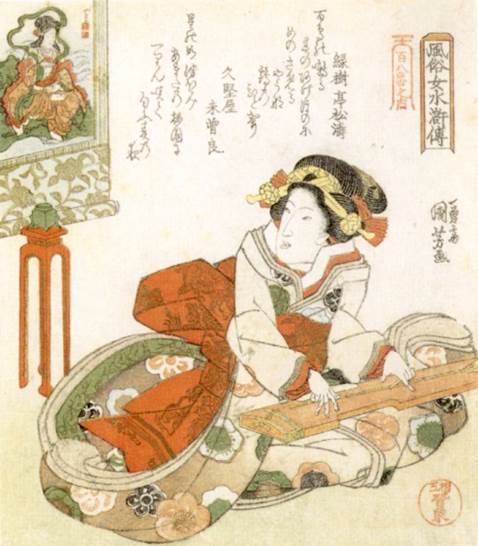 Kuniyoshi - (shikishiban) Modern Women as the 108 Heroes of the Suikoden (Fûzoku onna Suikoden hyakuhachiban no uchi), Covered boat (Yane-bune), Geisha on boat  wringing oot a cloth