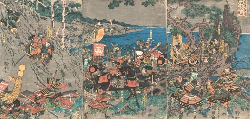 Kuniyoshi - (T 39) The Battle of Ishibashiyama (1180) in the rain, showing Yoritomo and his seven companions hiding in the hollow tree, and the combat of Kagehisa with Yoshisada (late )
