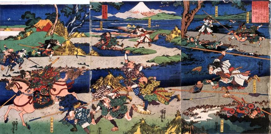 Kuniyoshi - (T 39) The battle of Ishibashiyama (1180) in the rain, showing Yoritomo and his seven companions hiding in the hoolow tree and the combat of Kagehisa an Yoshisada