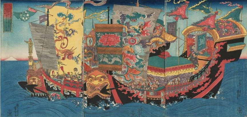 Kuniyoshi - (T 50) The great ships full of boys and girls sent in search of the immortal medicine