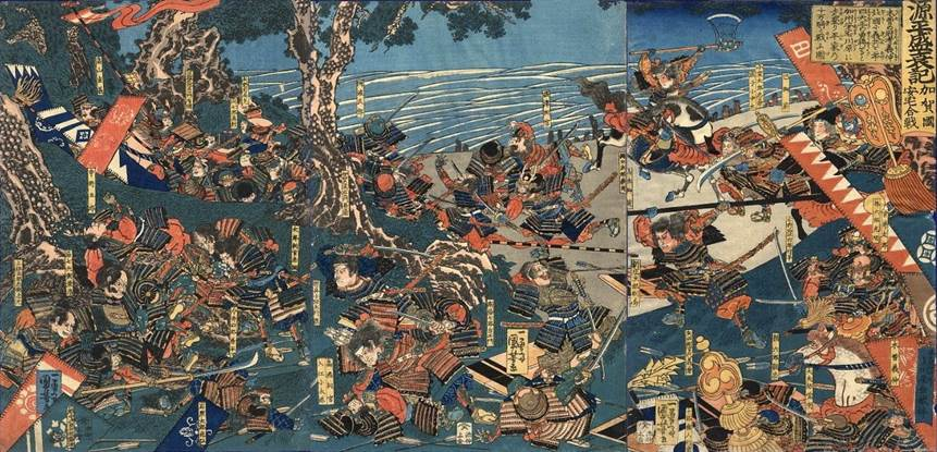 Kuniyoshi - (T 62) The battle at the Uji river (5th march 1184), Takatsuna is about to land, followed by Kagesuye and his main body still in the mid-stream; a broken bridge in the background