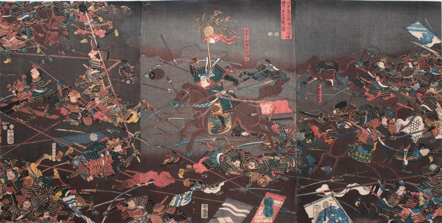 Kuniyoshi - (T271a) Direct encounter of the household troops of Kenshin and Shingen at the Battle of Kawanakajima