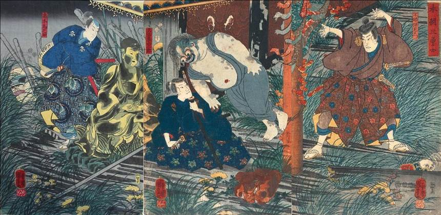 Kuniyoshi - (T283) Yorimoto watching the hunting at the foot of Mt