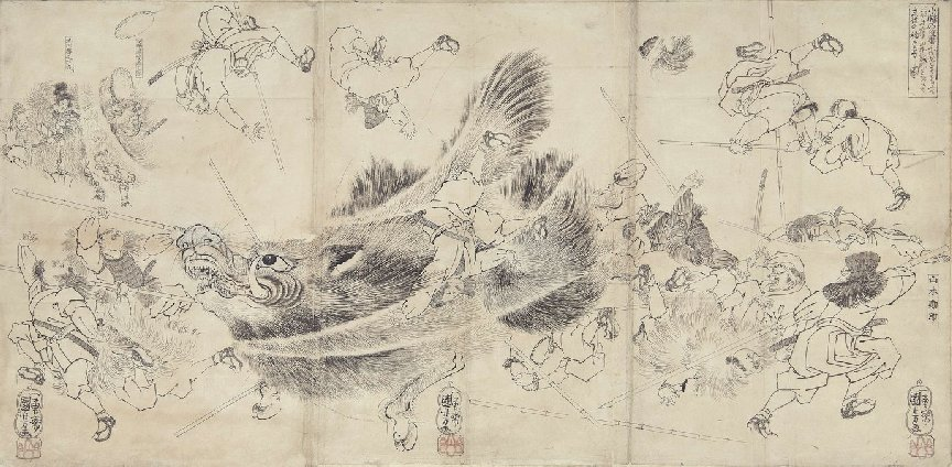 Kuniyoshi - (T287a) Interior of Moronao's palace just after rônin burst in- their rush is met by group of Moronao's retainers (L) while Yuranosuke directs operations seated on camp-stool with a small drum (R)