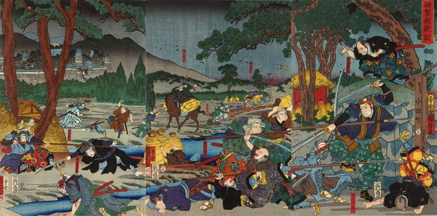 Kuniyoshi - (T290) Igagoye hataki-uchi, The Igagoye revenge- Karaki Masayemon (right) fighting against odds and Sawai Matagorô engaged by Wada Shidzuma (left)