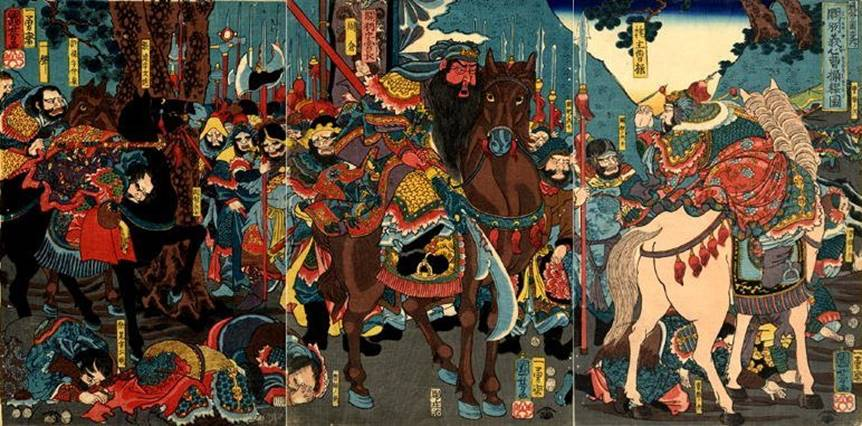 Kuniyoshi - (T293) Chinese Heroes of the 3 Kingdoms (Tsûzoku Sangokushi no uchi ), Kwanu, mounted at the head of his troops, interviewing Sôsô (Kwanu ga gishin Sôsô wo yurusu dzu), 1853
