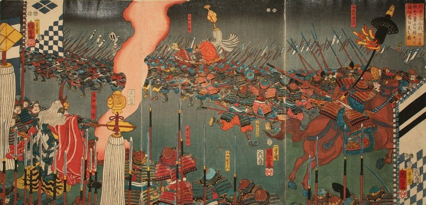 Kuniyoshi - (T289)  Battles of Kawanakajima in the 16th