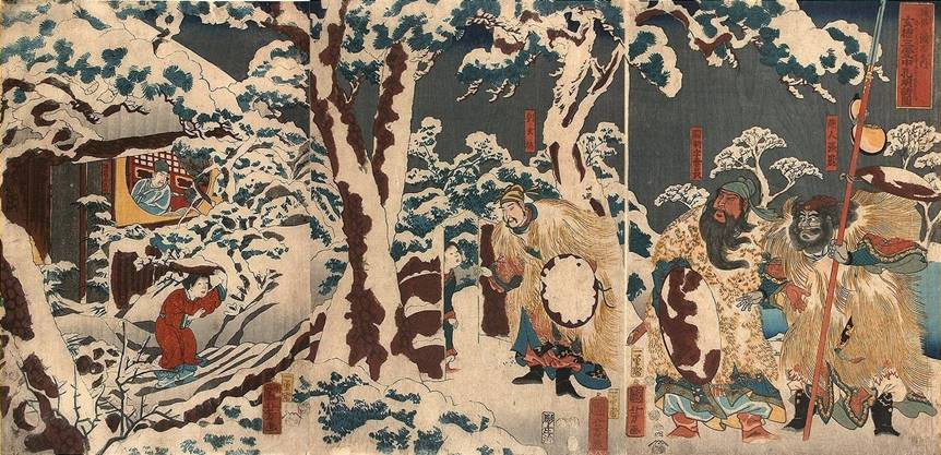 Kuniyoshi - (T294) The Tale of the Three Countries in the Popular Style (Tsuzoku Sangokushi), Chinese hero Ryu Gentoku in the snowy mountains with his two warriors, having located his future adviser Komei