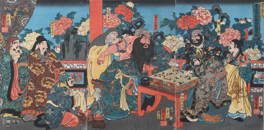 Kuniyoshi - (T295) Kwanu playing go while undergoing bone shaving
