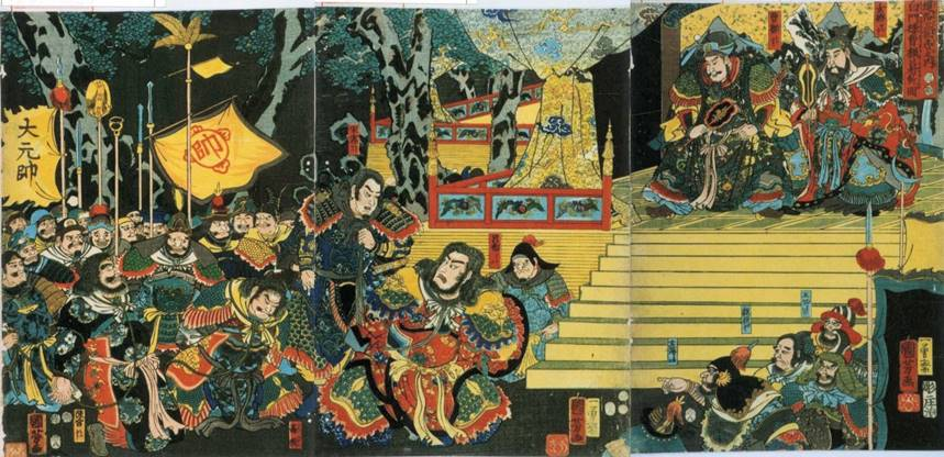 Kuniyoshi - (T300) The Battle of Kurikaradani in 1183; Yoshinaka kills the Taira commander Tomonori, while Kagekiyo fells three of the oxen with burning brushwood attached to their horns