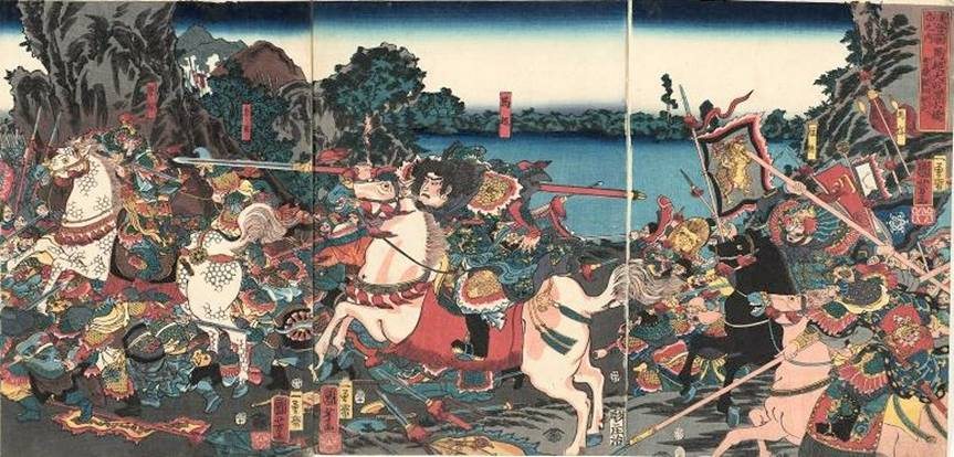 Kuniyoshi - (T302) the 3 Kindoms (Tsuzoku Sangokushi), Ryofu flees as the gross Totaku falls backwards & Riju hastens to his aid, 1853
