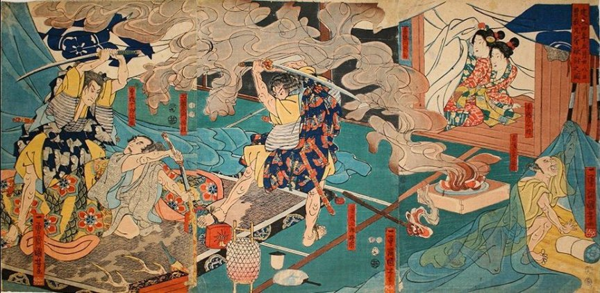 Kuniyoshi - (T304) The Soga brothers about to strike down Kudô Suketsune in his tent by a smoking brazier on June 28, 1193