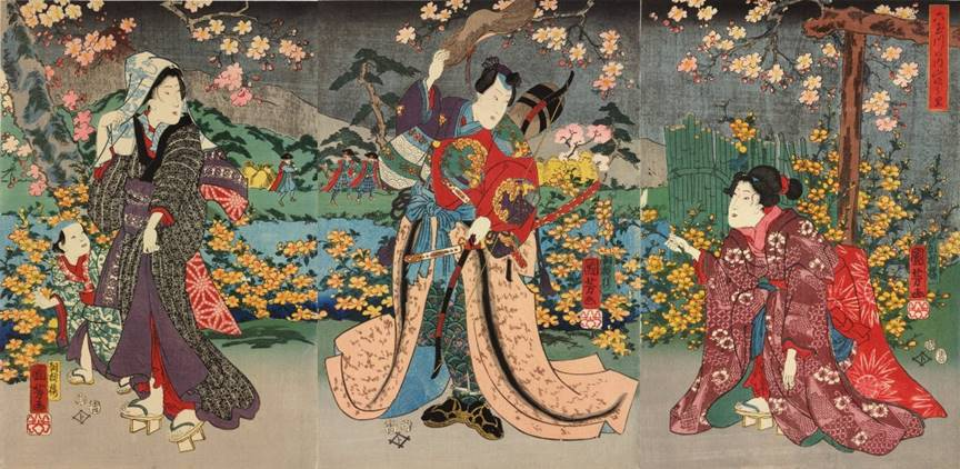 Kuniyoshi - actors as Ôta Saemon-dayû Mochisuke (aka Ôta Dôkwan, C) holding a bow and lifting his hat, being offered a spray of flowers by a kneeling woman, watched by a woman with a child (L, (4)1854