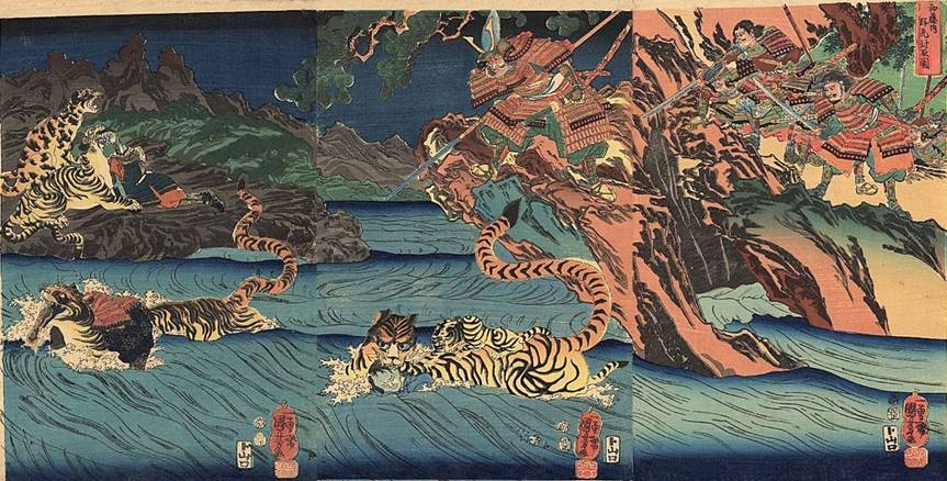 Kuniyoshi - (T317) Kato Kiyomasa and his troops chasing tigers, some of whom are carrying dead Japanese across a river (Watonai gunko toshu no zu)