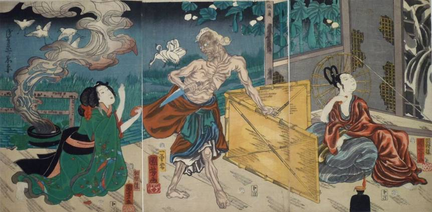 Kuniyoshi - (T318) The Lonely House story- the Hag (center) with a suppliant female victim and the appearance of the goddess Kwannon (right) behind a screen
